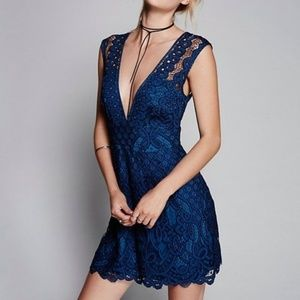 Free People Blue Lace Dress - Size 6